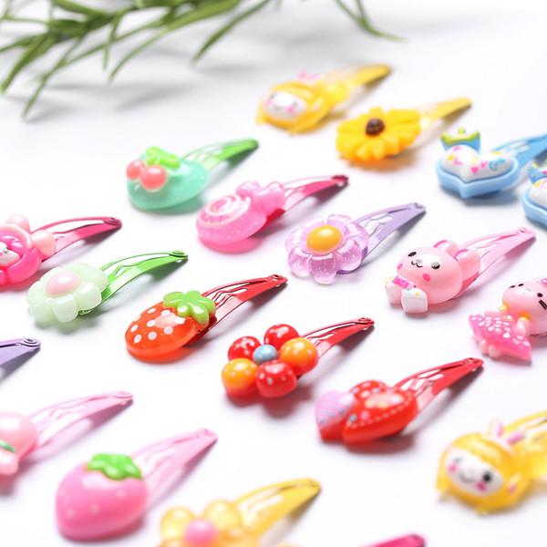 10Pcs/Lot Random Styles Flower Cartoon Hairpins Lovely Kids Girls Hair Clips Barrettes Multicolor Hair Band Accessories 3CM C19010901