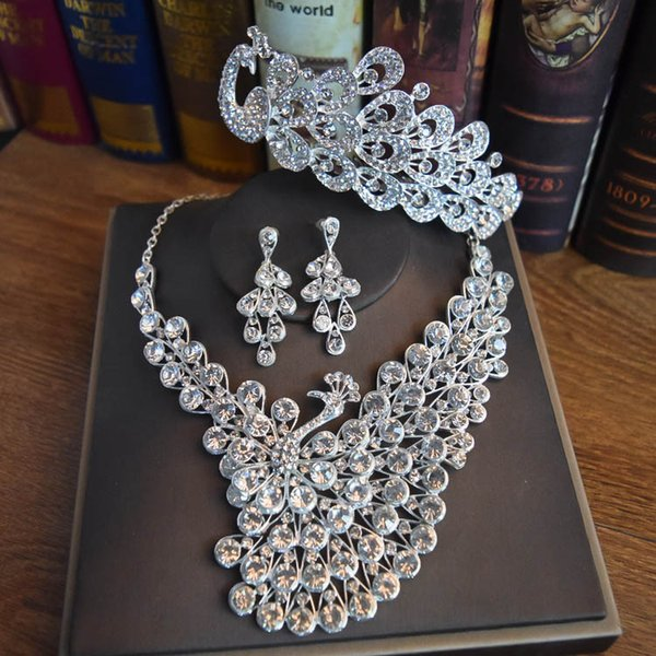 2018 Luxury Bridal Accessories Crystal Necklace Earring Crown headdress 3-pieces Accessories Wedding Jewelry Sets Cheap Fashion jewelry 0353