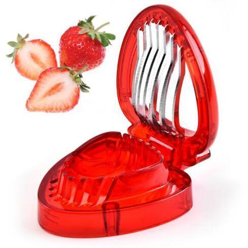 Çilek Dilimleme Plastik Meyve Oyma Araçları Salata Kesici Mutfak Alet Araçlar Aksesuarları Araçları Kesici Paslanmaz Çelik Bıçak Dilimleme