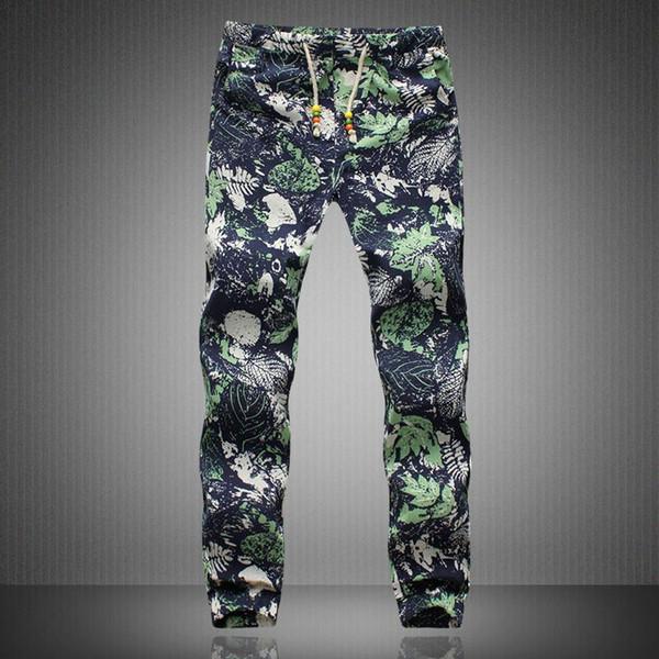 Slack Pantalones Harem Casual Hippie con cordón de lino para hombre exótico Patrón Y190509