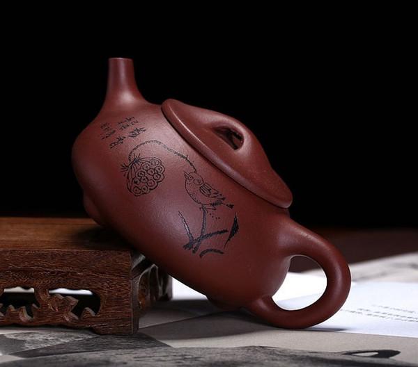 Steintrommel-Teekanne Yixing Teekanne 300ml Zisha-Teekanne Shipiao-Teekanne purpurrote Lehm-Teekanne-handgemachtes Kung Fu-Teaset Freies Verschiffen hexiaoshipiao