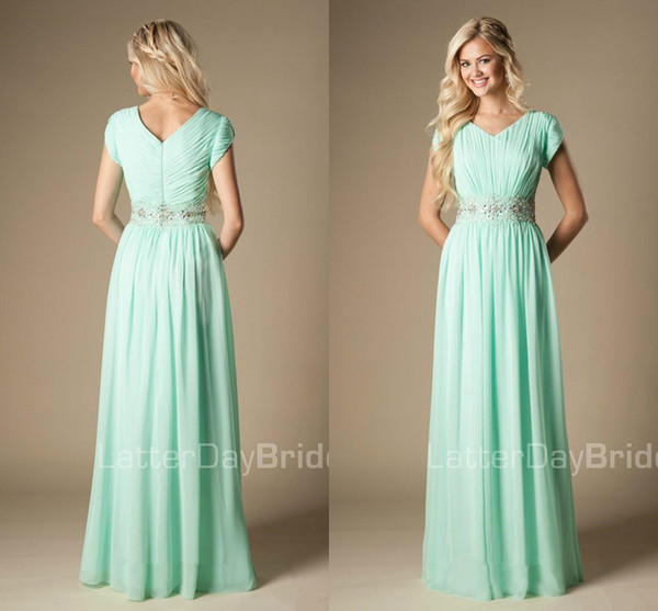 Beaded Mint Green Bridesmaid Dress Modest A Line Chiffon Formal Maid Of  Honor Dress Wedding Guest Gown Custom Made Plus Size Dress For Wedding  Guest ...