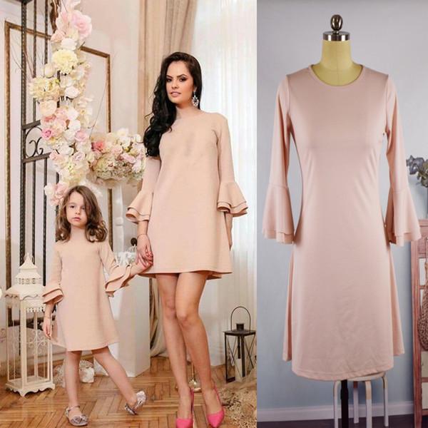 Madre e hija ropa familia vestidos vestidos a juego Sólido delgado falda bebé Niños Outfit niñas Verano Niños moda QZZW116