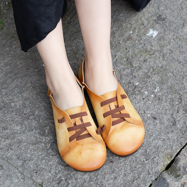Shoes Lace Design Women' s Flat Shoes Genuine Leather Female Flats Colorful Super Soft Lady Casual Multifuctional