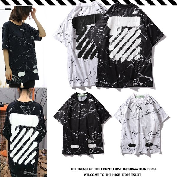 Black And Two Colour City Limit Paragraph Marble Texture Graffiti Short Sleeve Men And Women With Paragraph T T-shirt