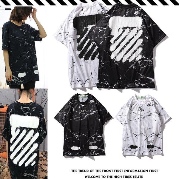 Черный и двухцветный городской лимит абзац мраморная текстура граффити с коротким рукавом мужчины и женщины с абзацем футболка