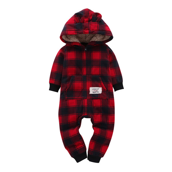 Kid Boy Girl Long Sleeve Hooded Fleece Jumpsuit Overalls Red Plaid Newborn Baby Winter Clothes Unisex New Born Costume 2019 MX190720