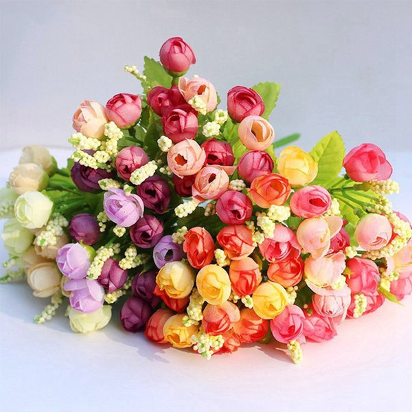 15 Heads Artificial Silk Rose Flowers Wedding Bouquet White Pink Rose Fake Flowers Home Party Diy Decoration A4250