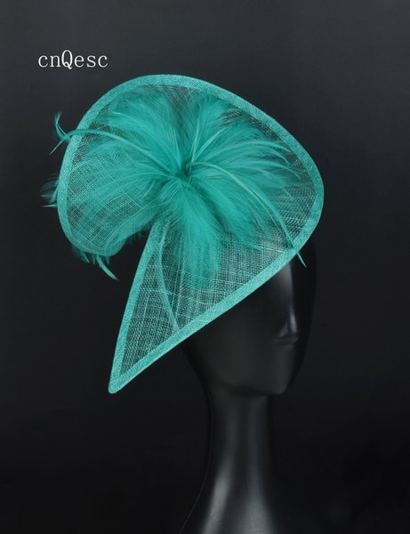 2019 Hot pink sinamay fascinator feather Headpiece Kentucky Derby wedding races bridal shower mother of the bride.