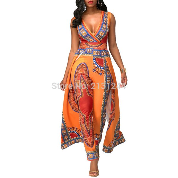 Women African Clothes Dashiki Print Jumpsuit Vestidos Ankara Orange V-neck Sleeveless Jumpsuit African Dresses for Women