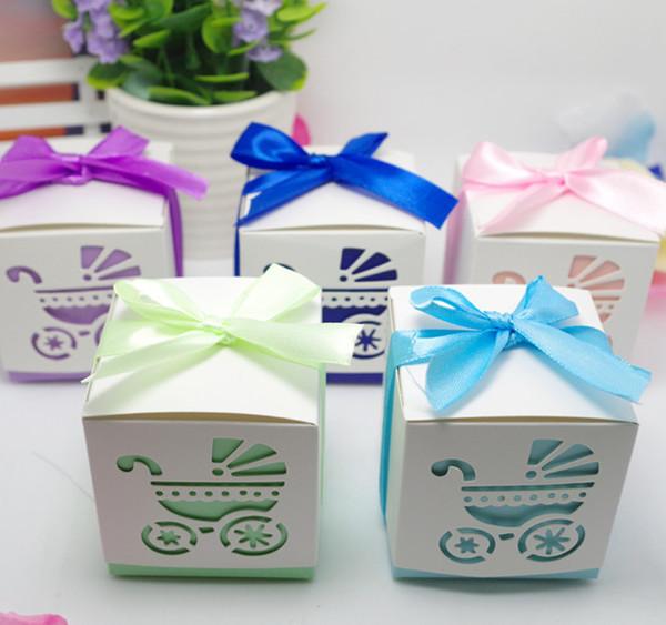 2019 Baby Shower Stroller Oco Favor caixas de doces, caixa de embalagem do presente dos doces do casamento da festa de aniversário