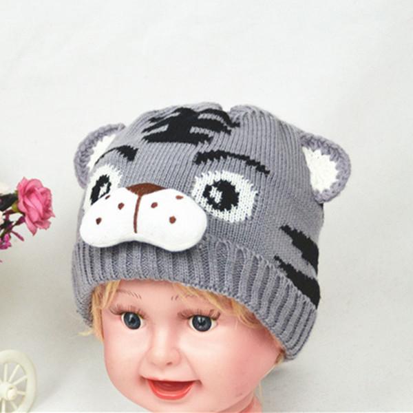 Patrón de la moda otoño invierno niños del sombrero del tigre de punto Beanie animal recién nacidos Niños bebés mantener caliente la muchacha del ganchillo