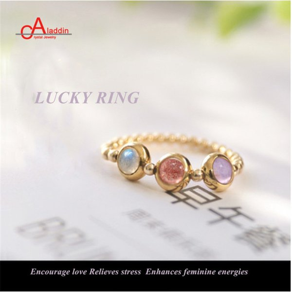 Aladdin Adjustable Nature Stone Enegries Ring Crystal set Rings for Women girls Lucky Rings gift moonstone male female