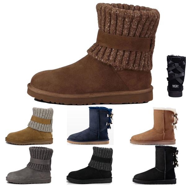 Australia UGG WGG Women Winter Boots Lüks Kahve Kar Kış Deri Kadınlar Avustralya Klasik diz yarım çizmeler Ayak Bileği çizmeler Siyah Gri kestane lacivert Womens k ...