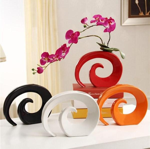 Vases à la mode moderne vase en céramique pour le décor de table vase blanc rouge noir orange couleur choix