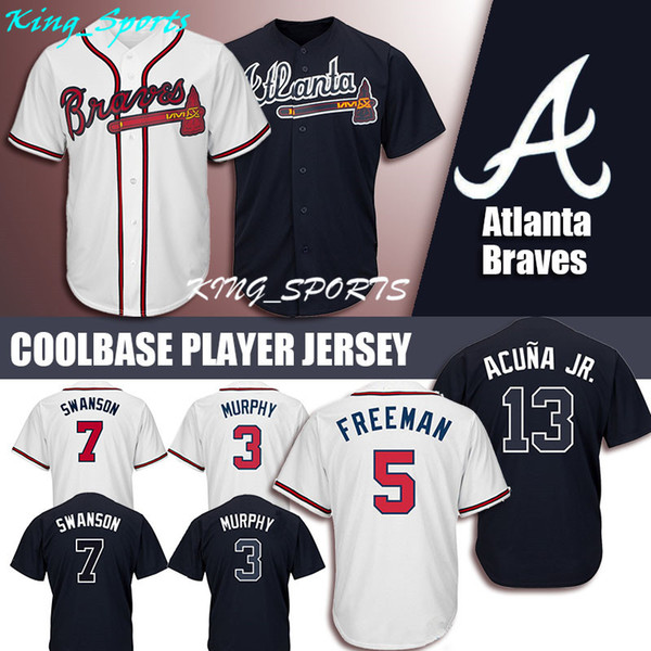 Atlanta Braves Majestic Coolbase Jersey 13 Ronald Acuna Jr. Jersey 5  Freddie Freeman Jersey 3 Dale Murphy 10 Chipper Jones 7 Dansby Swanson 5476b624c