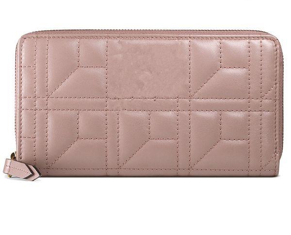 Elegant ladies 2019 new women's bag trend nude color embossed zipper long wallet handbag