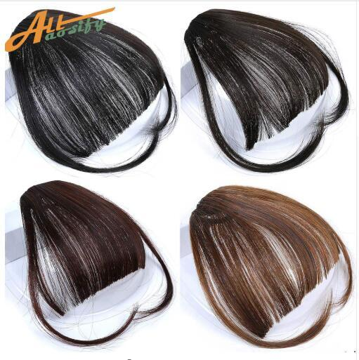 Clip In Hair Bangs Hairpiece Synthetic Fake Bangs Hair Piece Clip In Hair Extensions Pure Color Middle Part Bang