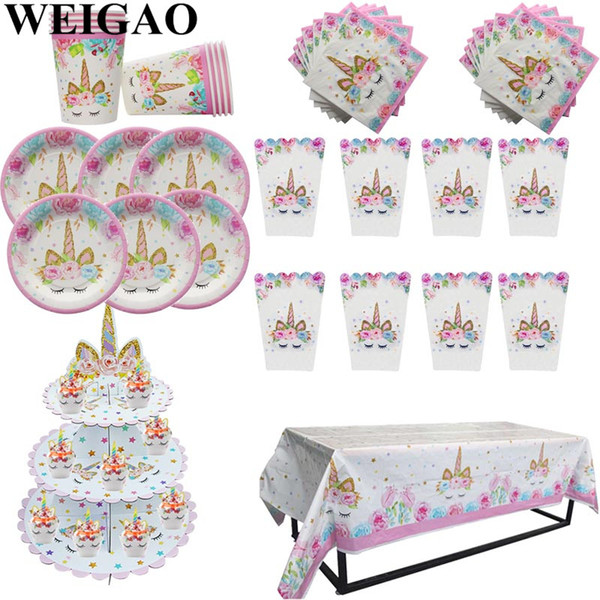 WEIGAO Unicorn Party Tableware Set Unicorn Cake Decor Napkin Cup Plate Hat Kids Happy Birthday Decoration Baby Shower Supplies