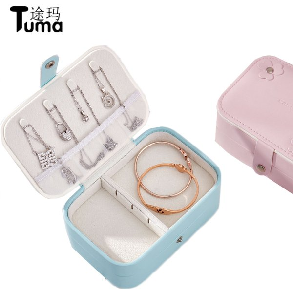 Originality PU leather double-deck jewelry box Handy and portable high-capacity earrings storage cases Fashion travel gift box