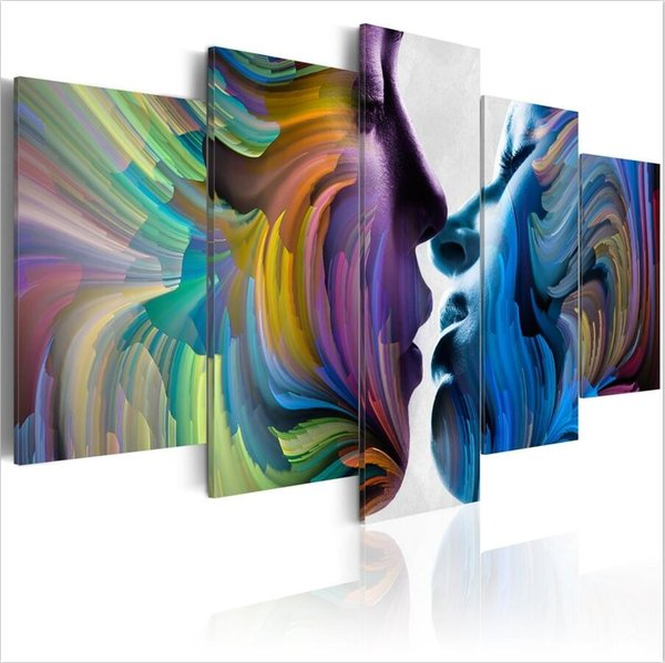 ( No Frame)5PCS/Set Modern Abstract Kiss of Colors Art Print Frameless Canvas Painting Wall Picture Home Decoration