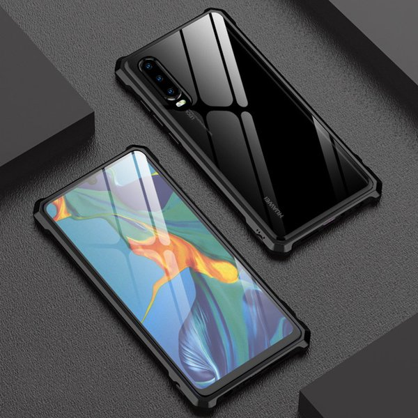 Huawei P30 Pro Case Luxury Diamond Shape Aluminum Metal Case For Huawei P30/ Pro/ P30 Lite Cover Tempered Glass Back Phone Cases