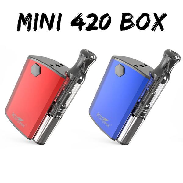 100% Аутентичные KangVape Mini 420 Starter Kits Box Mod 400 мАч Разогрев Батареи с Густым Маслом 0.5 мл Керамическая Катушка Картридж Комплект Бесплатная Доставка