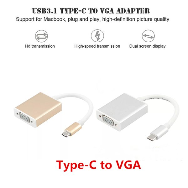 Video Cable Type-C Adapter Dock Hub USB C 3.1 Type-C to VGA 1080P HD Converter for Phone MacBook Chromebook Laptop Monitor Projector TV