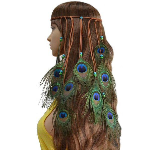 New hot bohemian hair band hand-woven national wind peacock feather hair accessories