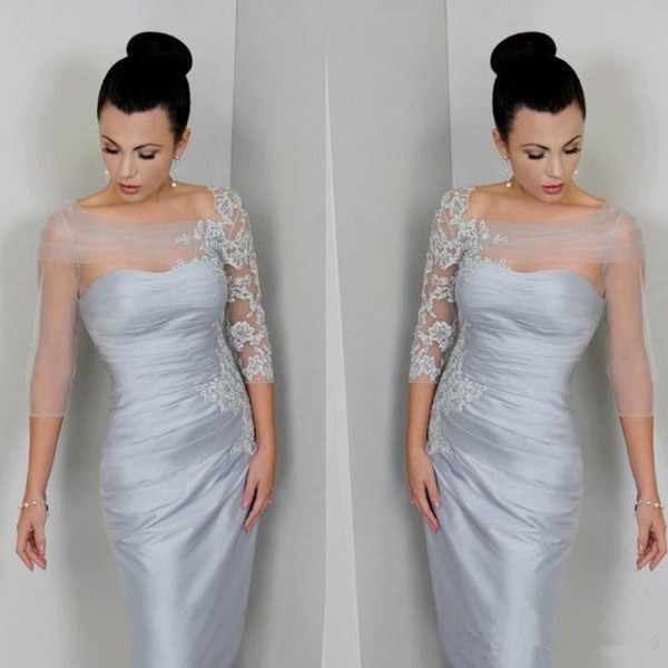 top popular Silver Mother of the Bride Dresses Sheer Sleeves Bateau Neck Appliques Lace Satin Knee Length Short Prom Dresses Formal Party Gowns Custom 2019