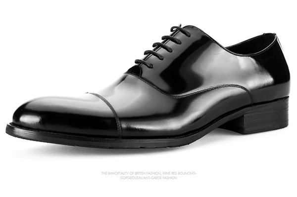 Large Size EUR45 Fashion Black Formal Business Shoes Mens Dress Shoes Genuine Leather Derby Boys Prom Shoes