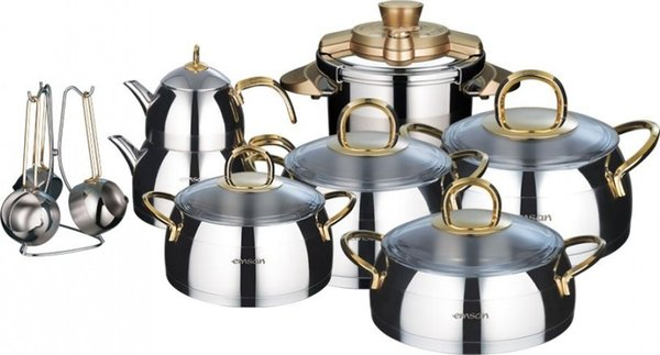 best selling Emsan Emsen Aragon Gold 17 Piece Stainless Steel Dowry Team Ship from Turkey HB-001639736