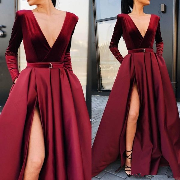 Borgoña profundo cuello en V vestidos de baile de raso una línea de mangas largas acanalada vestidos de noche de alta división de longitud de los vestidos de noche del partido formal