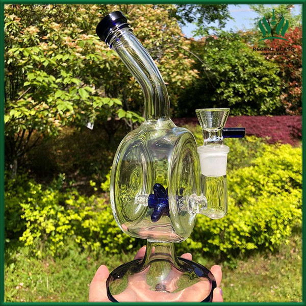 2019 New design 10 inch glass bong water pipe dab rigs bubblers with Vertical Propeller fan perc Water Pipe with 18mm glass bowl
