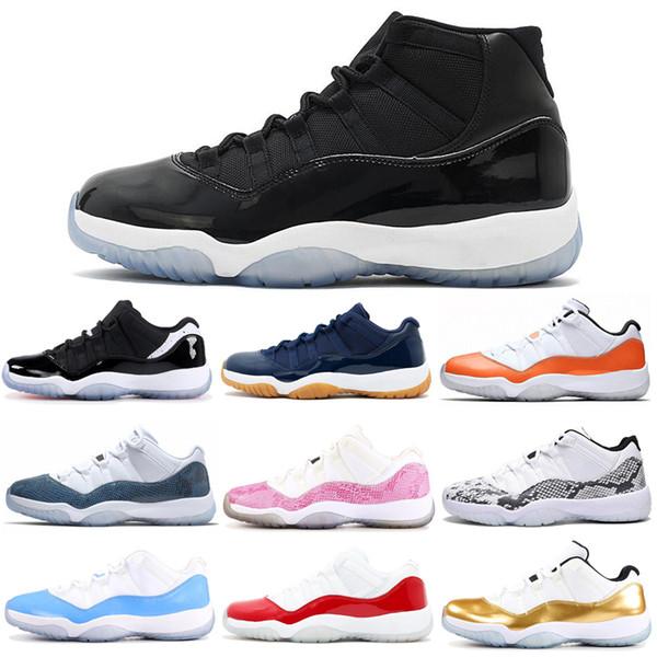 11 11s de basket-ball chaussures pour femmes hommes Concord Snakekin Cap et robe Orange Trance Space Jam hommes formateur baskets 5.5-13