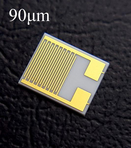 best selling 50 Pieces 90um Interdigitated Gold Electrodes IDE Alumina Ceramic Gas Sensor Interdigital Capacitor Arrays DPC Thin Film (5mm-6mm)