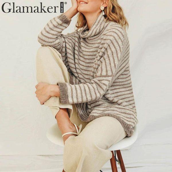 Glamaker уютный полосатый негабаритных свитер женский джемпер femme пуловер женский свитер зима 2019 Рождество трикотажные пиджаки