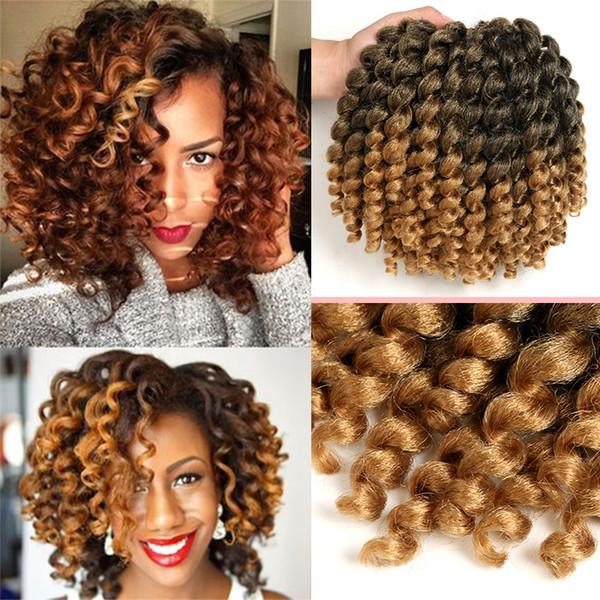 1Packs Short Wand Curl Spiral Bouncy Jumpy Crochet Hair Afro Small Curls African Hair Extensions for Black Women Xtrend Hair (1B/27#)