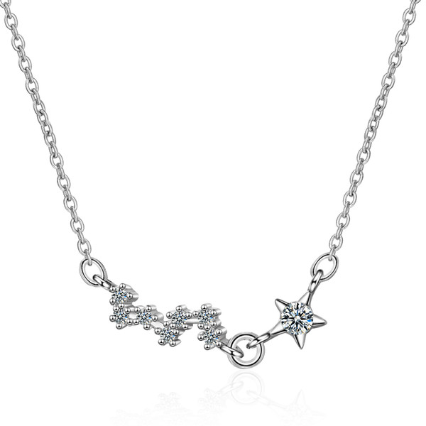 DZ372 Women Fashion Brand Pentagram and Plum Blossom Shape Pendant Necklace Silver Plated Jewelry White crystal for girl