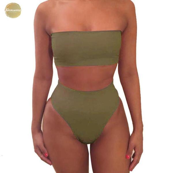 Kadınlar Saç bandı Sütyen Takım Elbise Katı Kısaca Kadınlar Yaz Straplez İç Mayolu Yüksek Bacak Yıkanma Beacher 7.2 ayarlar