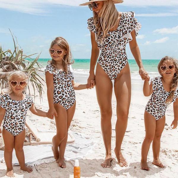 Traje de baño para niños 2019 Nuevo estampado de leopardo Traje de baño para niñas Mamá e hija Trajes de baño a juego Bikini para niñas Trajes de baño para niños de una pieza