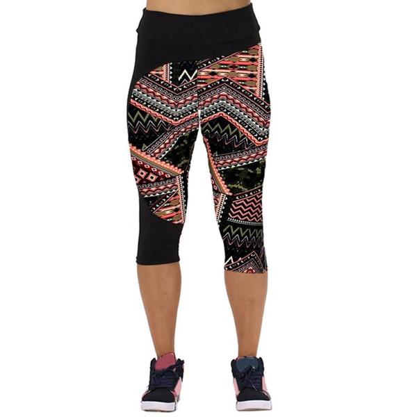 Women High Waist Fitnes Yoga Sport Leggings Tights Sportswear Printed Stretch Cropped Leggings Training Trousers JUNN16 #300688
