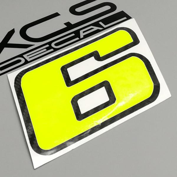 Auto decalcomanie adesivi adesivi Numero Racing Neon giallo fluorescente 100 millimetri di altezza per auto moto ATV casco portatile impermeabile decalcomania del vinile