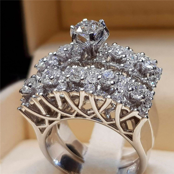 Female White Round Crystal Ring Set  Bridal Wedding Rings For Women Couple Promise Silver Engagement Jewelry Gifts