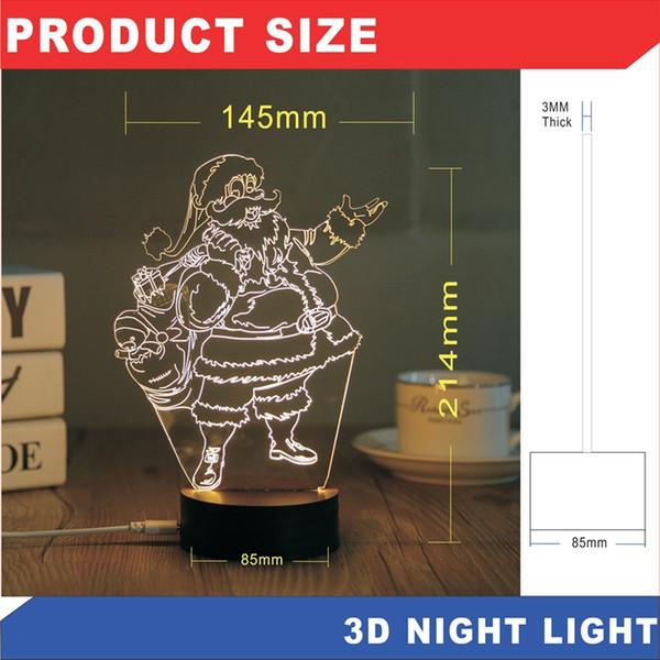 Natal LED 3D Night Lamp Ilusão Nightlight USB Criativo Dormir Lâmpada de mesa LED Night Light home decor Novidade itens