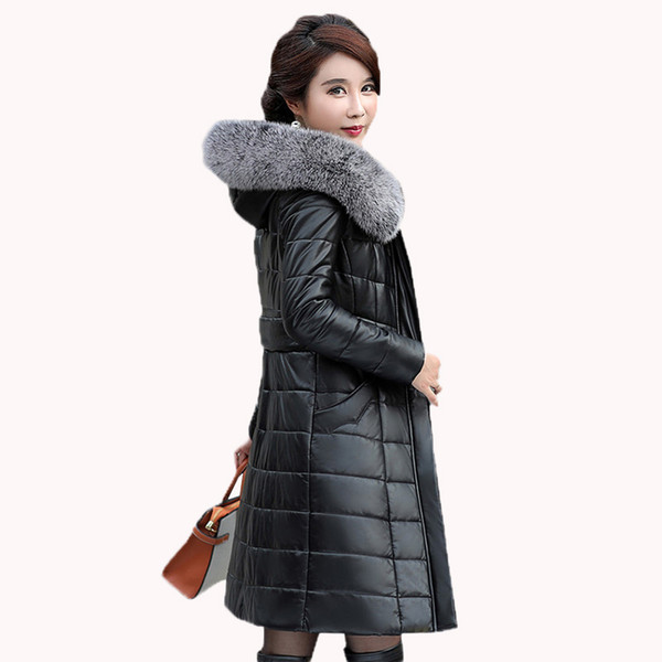 Women Autumn Winter Genuine Leather Down Jacket New High Quality Big Fur Collar Hooded Female Long Sheepskin Outerwear Coat FC03