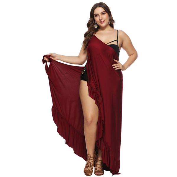 2019 Plus Size Kaftan Pareo Sarongs Sexy Ruffles Cover Up Bikini Swimwear Tunic Swimsuit Bathing Suit Cover Ups Robe De Plage