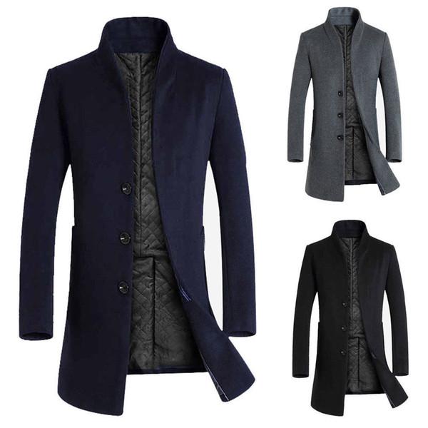 Stilvolle Männer Winter Trenchcoat Zweireiher lange Jacke formale Hemd Mantel