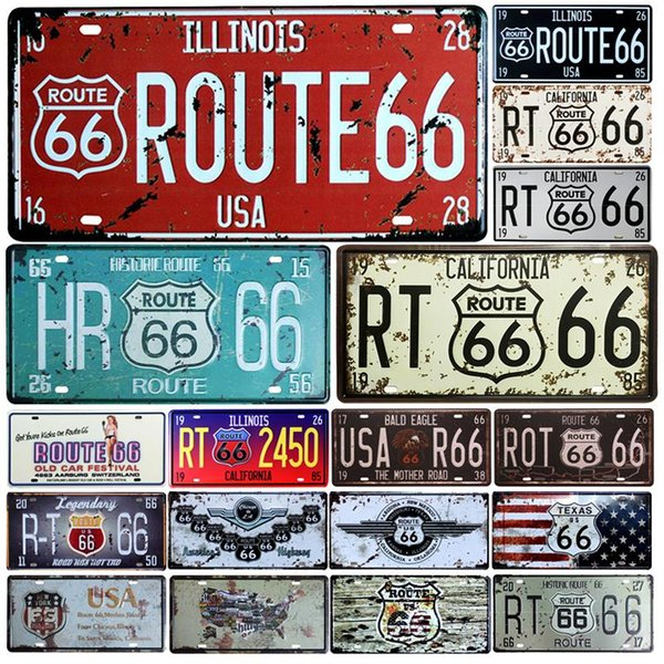 Hot Route 66 License Plate Store Bar Wall Decoration Tin Sign Vintage Metal Sign Home Decor Art Painting Plaques Poster 15*30cm