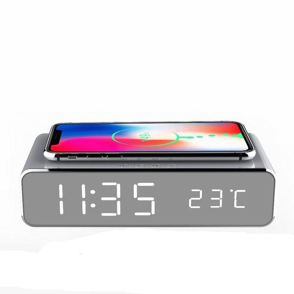 Reloj despertador eléctrico LED con teléfono Cargador inalámbrico Escritorio Termómetro digital Reloj de espejo HD con memoria de tiempo